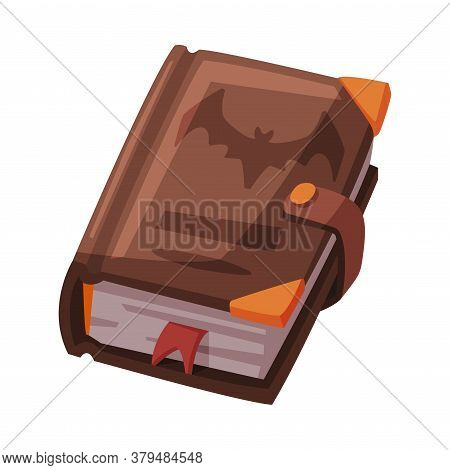 Ancient Magic Book, Witchcraft Attribute, Happy Halloween Object Cartoon Style Vector Illustration I