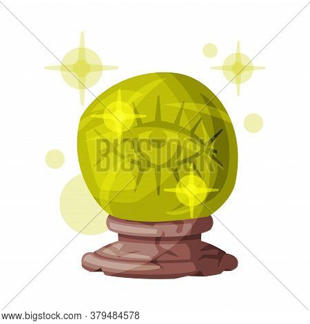 Fortune Telling Magic Crystal Ball, Witchcraft Attribute, Happy Halloween Object Cartoon Style Vecto