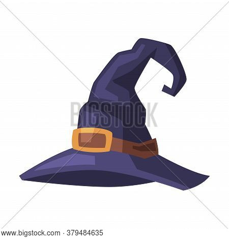 Black Witch Hat, Witchcraft Attribute, Happy Halloween Object Cartoon Style Vector Illustration On W