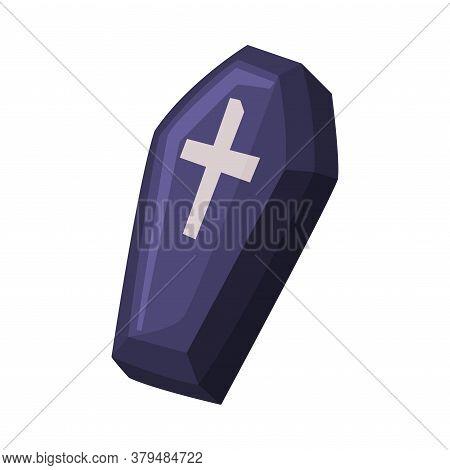 Black Coffin With Cross, Happy Halloween Object Cartoon Style Vector Illustration On White Backgroun