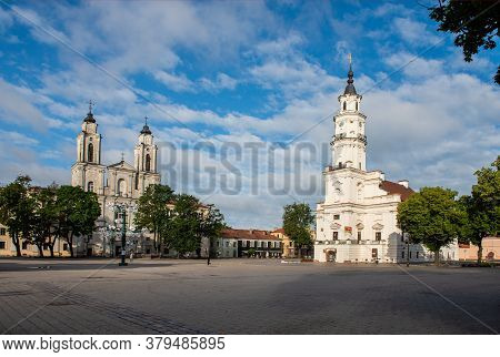 Kaunas, Lithuanian - July, 12, 2015: View Of City Hall In Old Town