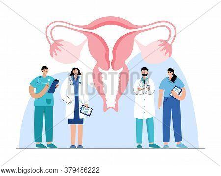 Uterus Anatomy And Doctor Gynecologist. Women Health Clinic. In Vitro Fertilization. Female Reproduc