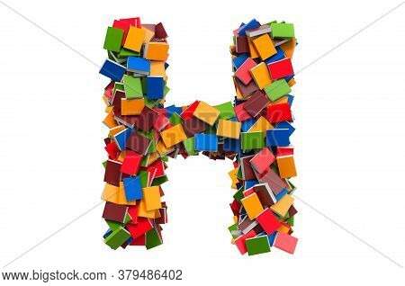 Letter H From Colored Books. 3d Rendering Isolated On White Background