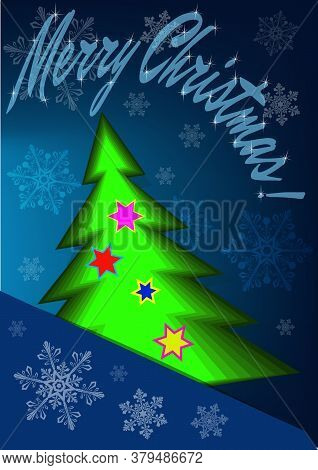 Merry Christmas Abstract Greeting Card - Vector Illustration