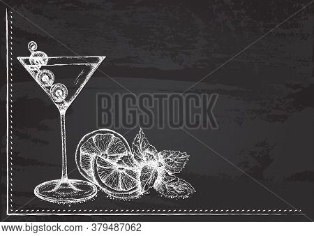 Vector Template With Cocktail With Martini Stylized As Chalk Drawing On Chalkboard.design For A Rest