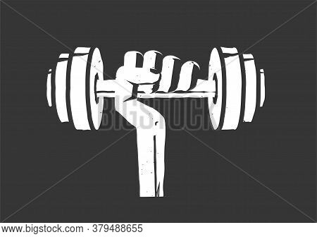 Fitness Gym Logo Element Idea Vintage Retro Style Vector Illustration, Dumbbell Weight In Hand Icon