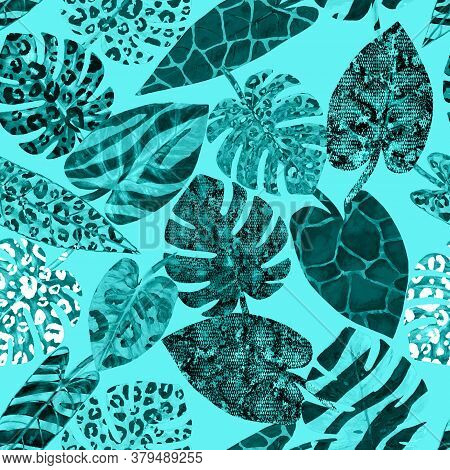 Watercolor Teal Turquoise Summer Paradise Abstract Seamless Pattern With Tropical Exotic Plants Back