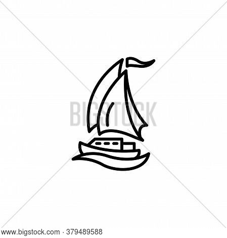 Yacht Linear Vector Icon. Sail Yacht Line Thin Sign. Sailboat Outline Symbol. Boat Ship Simple Logo