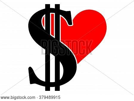 Vector Scalable Illustration With Dollar Sign And Heart.