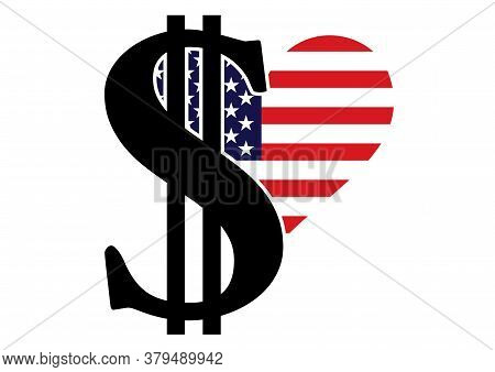 Vector Scalable Illustration With Dollar Sign And Usa Flag.