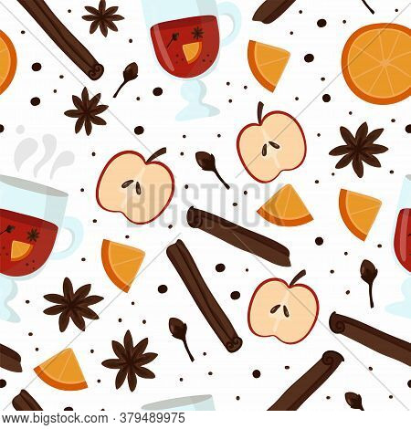 Mulled Wine Seamless Pattern. Bottle Of Wine, Glass With Mulled Wine, Orange And Apple, Autumn And W