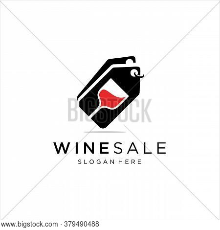 Wine Glass With Price Tag Label For Wine Shop Logo Design Inspiration