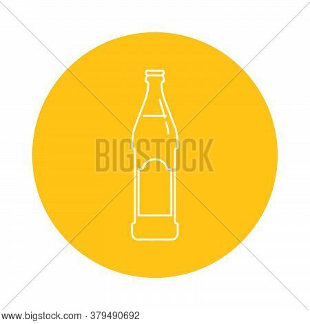 Illustration Of Bottle Of Beer In Flat Style In Form Of Thin Lines. In The Form Of Background Is Cir