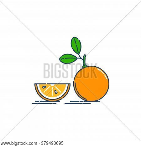 Whole And Slice Orange Or Tangerine Fruit Isolated On White Background. Organic Product. Bright Summ