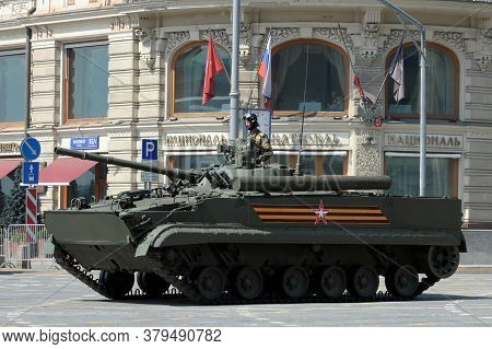 Moscow, Russia - June 20, 2020:bmp-3 Infantry Fighting Vehicle On Tverskaya Street During The Dress