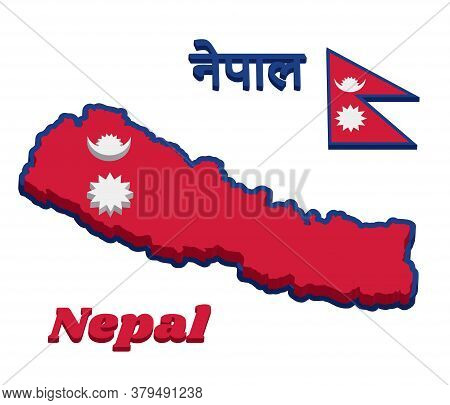 3d Map Outline And Flag Of Nepal, Two Red Blue Triangles: The Smaller Upper Triangle Bears The White