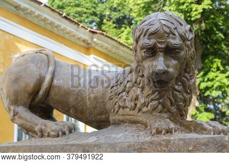 Ancient Sculpture Of Sad Lion Close Up In Palace And Park Ensemble In Village Samchyky. Khmelnytsky