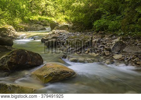 Fast  Mountain Creek   Flow Among Green Forest At Sunny Day. Beautiful Nature Of Carpathians. Ukrain