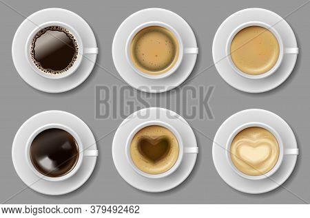Coffee Mug Top View Collection Isolated. Black Coffee, Cappuccino Espresso, Latte, Mocha, Americano
