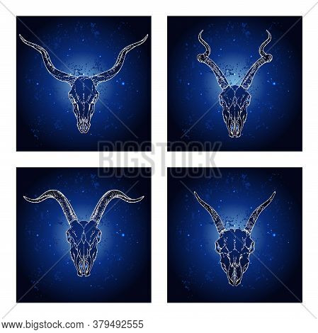 Vector Set Of Four Illustrations With Hand Drawn Skulls Antelopes And Goats On Blue Abstract Backgro