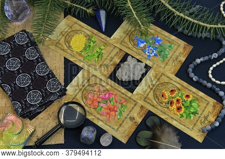 Mystic Still Life With Tarot Cards, Conifer Branch And Crystals On Witch Table. Esoteric, Gothic And