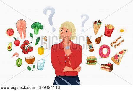 Choice Between Healthy And Unhealthy Food Concept Vector Background. Happy Young Blond Woman Thinkin