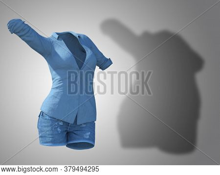 Conceptual fat overweight obese shadow female jeans shirt vs slim fit healthy body after weight loss or diet thin young woman on gray. Fitness, nutrition or obesity health shape 3D illustration
