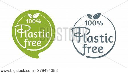 100 Percents Plastic Free Stamp In 2 Variations For Marking Of Unavailability Of Harmful Polymers