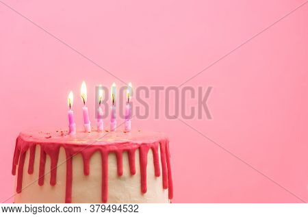 Five Birthday Candles On Pink Background. Cake With Pink Chocolate Decoration On Pink Background. Fi