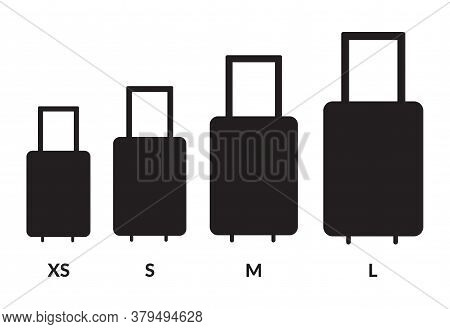 Luggage Sizes Xs, S, M, L. Baggage Size Vector Icons Set