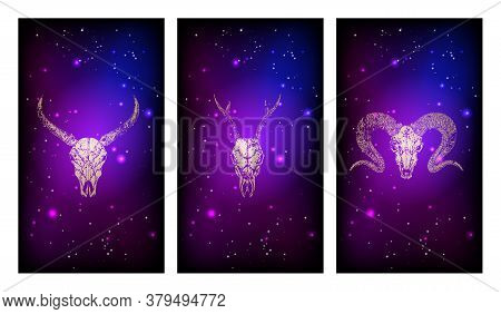 Vector Set Of Three Illustrations With Gold Silhouettes Skulls Roe Deer, Ram And Buffalo Against The