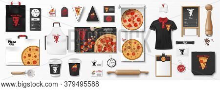 Mockup Set For Pizzeria, Cafe Or Restaurant. Realistic Branding Set Of Pizza Box, Flyer, Uniform, Me