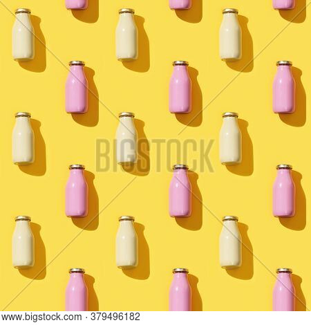Creative Seamless Pattern With Small Glass Bottles For Juice Or Yogurt. Packaging Template Mock Up O