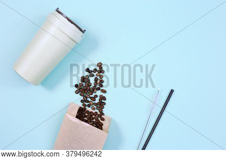 Reusable Eco Coffee Cup And Metal Drinking Straw. Zero Waste Concept, Flat Lay. Ban Single Use Plast