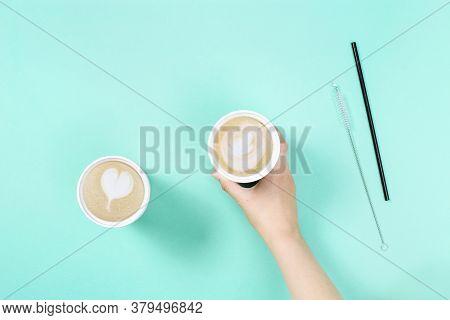 Take Away Coffee Cappuccino And Latte Art In Reusable Eco Thermo Mug , Metal Drinking Straw. Shoppin