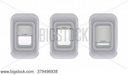 Set Of Airplane Indoor Portholes. Realistic Aircraft Interior Windows. Airplane Fuselage Glass Porth