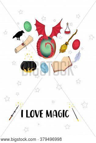 I Love Magic. Postcard With Magic Items. Mystery And Magic