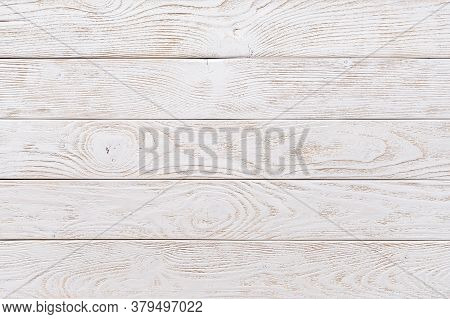 Surface Of Textured Wood Planks Painted With White Paint. Empty Background Of Horizontal White Wood