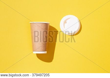 Open Blank Craft Take Away Big Paper Cup For Coffee Or Drinks, Packaging Template Mock Up On Yellow