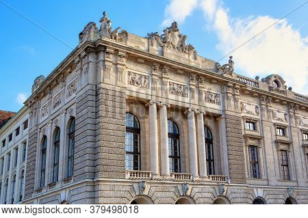 Vienna Hofburg Architecture . Building With Sculptures On Top In Vienna Downtown