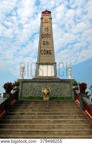 Hoi An, Vietnam, February 29, 2020: Commemorative Monolith Located In The Martyrs Cemetery In Hoi An