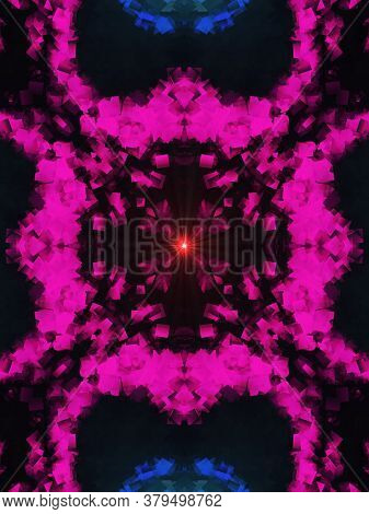 Flower Kaleidoscope Pattern Abstract Background. Pink Violet Abstract Fractal Kaleidoscope Backgroun