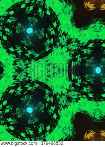 Abstract Classic Green Pattern. Background Image. Abstract Decorative Texture. Modern Pattern. Metal