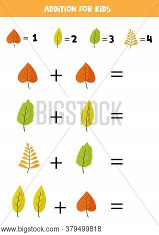 Addition For Kids With Cute Autumn Leaves.