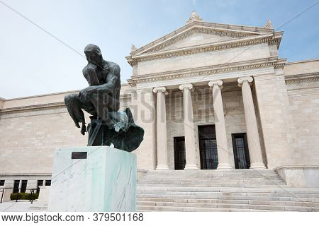 Cleveland, Ohio, United States, April 30, 2011: Auguste Rodin Statue In Front Of  The Cleveland Muse
