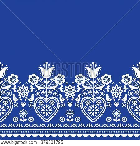 Scandinavian Folk Art Greeting Card Vector Pattern With Birds And Flowers, Nordic Retro Repetitive D