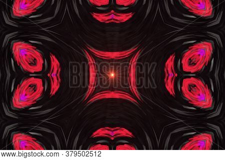 Red Supernova Creative Pattern With Symmetric Geometric Ornament. Ornamental Mosaic Texture. Kaleido