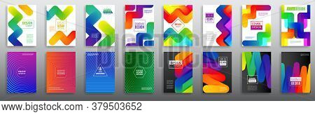 Abstract Geometric Line Gradient Background. Set Of Minimal Dynamic Cover Design. Business Brochure