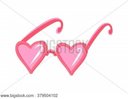 Vector Illustration With Pink Glasses And Hearts In The Style Of Flat Cartoon Hand Drawn. Cute Vecto