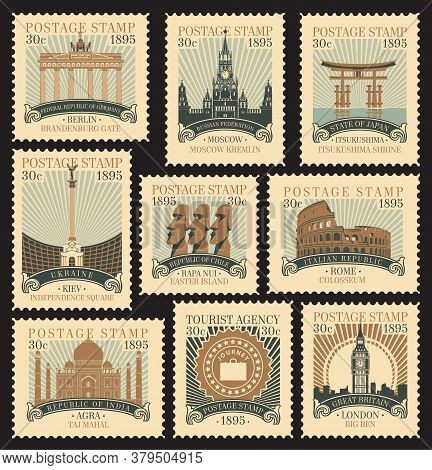 Set Of Postage Stamps On The Theme Of Travel With Architectural And Historical Attractions From Vari